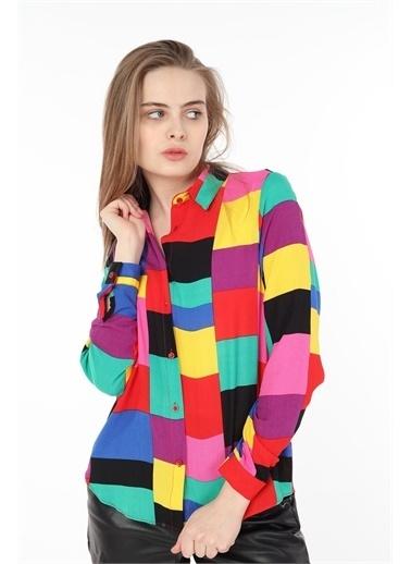 Rodi Jeans Kadın Kare Renkli Gömlek DS21YB033897 Renkli